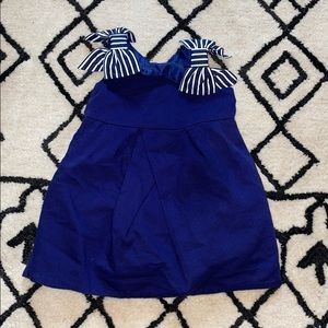 Janie & Jack Marina Navy Stripe Bow Dobby Dress